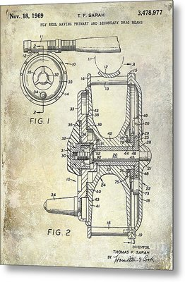 1969 Fly Reel Patent Metal Print