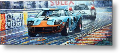 1969 Le Mans 24 Ford Gt 40 Ickx Oliver Winner  Metal Print by Yuriy Shevchuk
