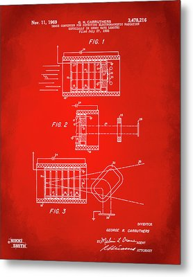 Metal Print featuring the digital art 1969 Short Wave Electromagnetic Radiation Patent Red by Nikki Marie Smith