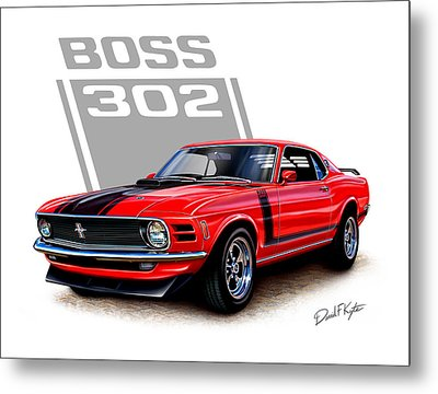 1970 Mustang Boss 302 Red Metal Print by David Kyte