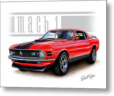 1970 Mustang Mach 1 Red Metal Print by David Kyte
