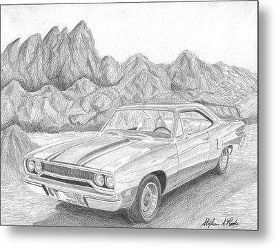 1970 Plymouth Roadrunner Muscle Car Art Print Metal Print