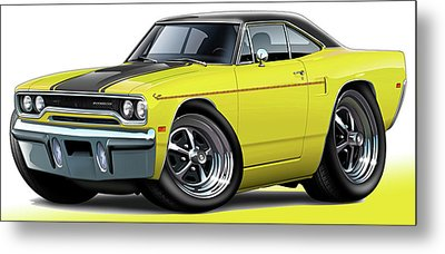 1970 Roadrunner Yellow Car Metal Print by Maddmax