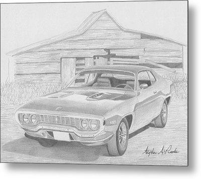 1971 Plymouth Roadrunner Muscle Car Art Print Metal Print