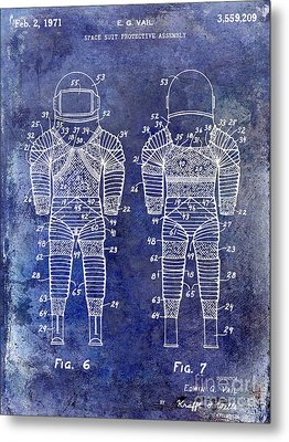 1971 Space Suit Patent Blue Metal Print by Jon Neidert
