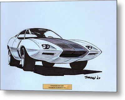 1972 Barracuda  Cuda Plymouth Vintage Styling Design Concept Sketch  Metal Print by John Samsen