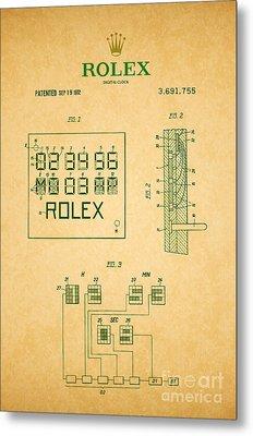 1972 Rolex Digital Clock Patent 2 Metal Print