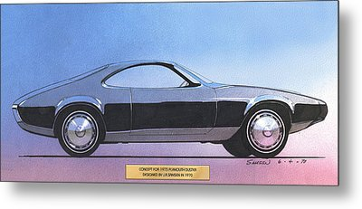 1973 Duster  Plymouth  Vintage Styling Design Concept Sketch Metal Print by John Samsen