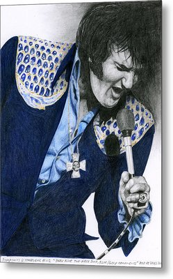 1975 Dark Blue Two Piece Suit Blue Gold Ornaments Metal Print