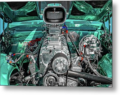 Metal Print featuring the photograph 1975 Pontiac Ventura Engine Detail   -   1975pontiacv8enginedetail170550 by Frank J Benz