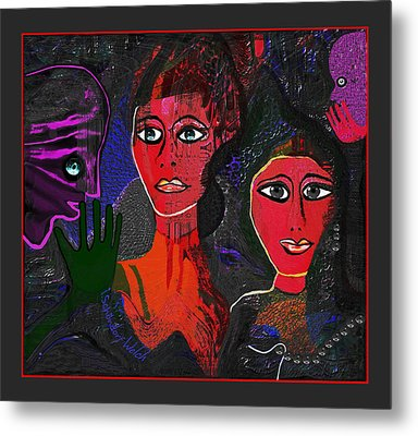 Metal Print featuring the digital art 1977 - Faces Red by Irmgard Schoendorf Welch