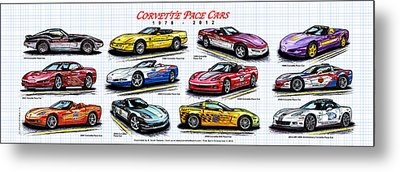 Metal Print featuring the drawing 1978 - 2012 Indy 500 Pace Car Corvettes by K Scott Teeters