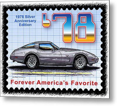1978 Silver Anniversary Edition Corvette Metal Print by K Scott Teeters