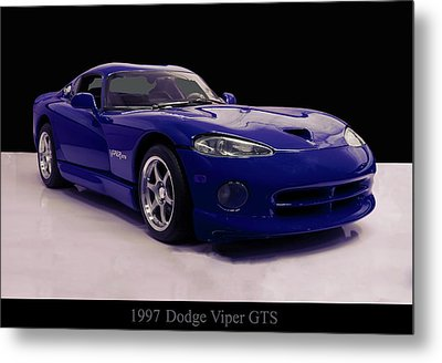 Metal Print featuring the digital art 1997 Dodge Viper Gts Blue by Chris Flees