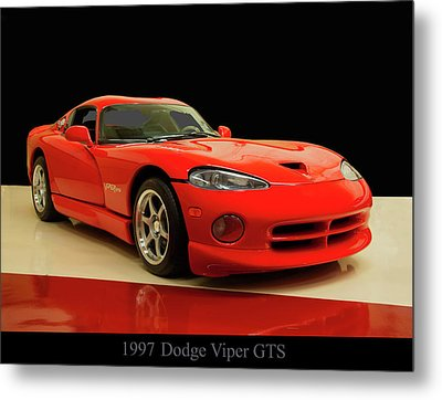 Metal Print featuring the digital art 1997 Dodge Viper Gts Red by Chris Flees