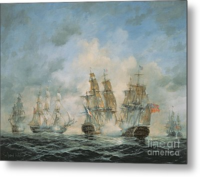 19th Century Naval Engagement In Home Waters Metal Print by Richard Willis
