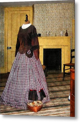 19th Century Plaid Dress Metal Print by Susan Savad