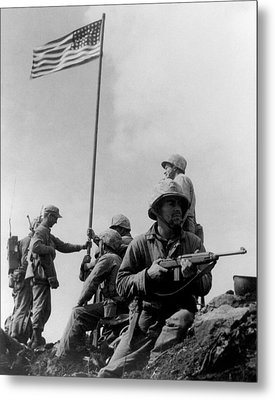 1st Flag Raising On Iwo Jima  Metal Print by War Is Hell Store