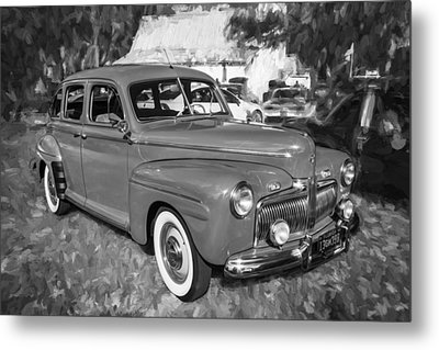 1942 Ford Super Deluxe Sedan Bw  Metal Print by Rich Franco