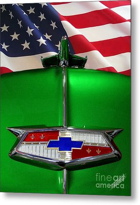 1954 Chevrolet Hood Emblem Metal Print by Peter Piatt