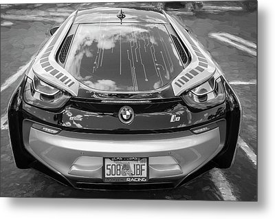Metal Print featuring the photograph 2015 Bmw I8 Hybrid Sports Car Bw by Rich Franco