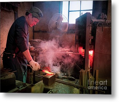 4th Generation Blacksmith, Miki City Japan Metal Print