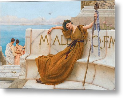 A Priestess Of Bacchus Metal Print by John William Godward