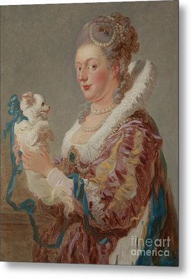 A Woman With A Dog Metal Print by Jean Honore Fragonard