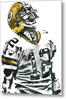 Aaron Rodgers Green Bay Packers Pixel Art 4 Metal Print by Joe Hamilton