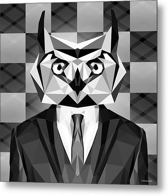 Abstract Owl Metal Print by Gallini Design