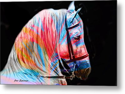 Metal Print featuring the painting Abstract White Horse 19 by J- J- Espinoza