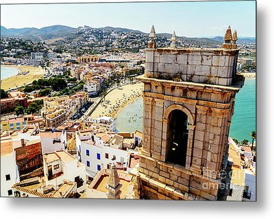 Aerial Panoramic View Of Peniscola City In Spain Metal Print