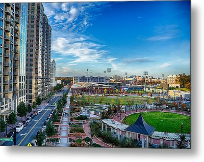 Aerial View Of Romare Bearden Park In Downtown Charlotte North C Metal Print by Alex Grichenko