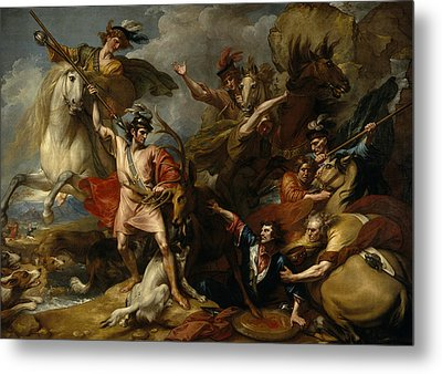 Alexander IIi Of Scotland Rescued From The Fury Of A Stag By The Intrepidity Of Colin Fitzgerald  Metal Print by Benjamin West