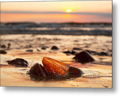 Amber Stone On The Beach Metal Print by Michal Bednarek