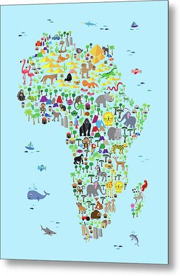 Animal Map Of Africa For Children And Kids Metal Print by Michael Tompsett
