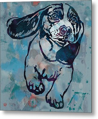 Animal Pop Art Etching Poster - Dog  Metal Print by Kim Wang