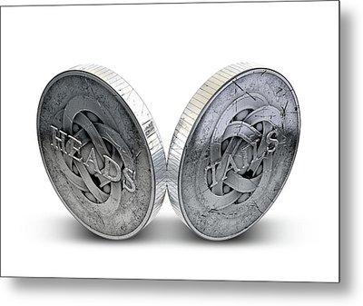 Antique Coins Heads And Tails Metal Print by Allan Swart
