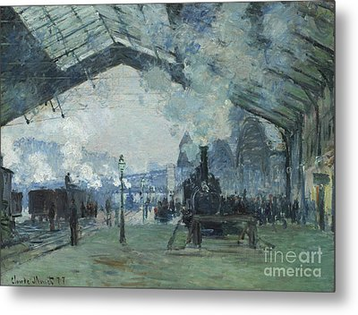 Arrival Of The Normandy Train Gare Saint-lazare Metal Print by Claude Monet