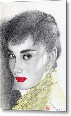 Metal Print featuring the drawing Audrey Hepburn by Eliza Lo
