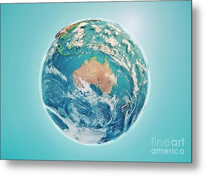 Australia 3d Render Planet Earth Clouds Metal Print by Frank Ramspott