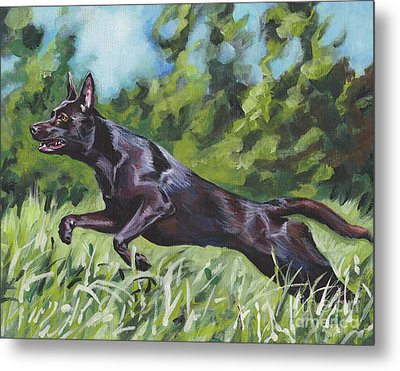 Metal Print featuring the painting Australian Kelpie by Lee Ann Shepard