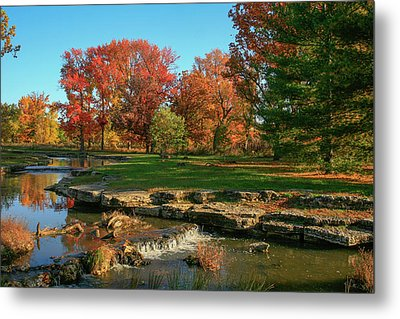 Autumn At The Deer Lake Creek Riffles In Forest Park St Louis Missouri Metal Print by Garry McMichael