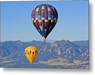 2 Balloons Flying Over The Flatirons Metal Print by Scott Mahon