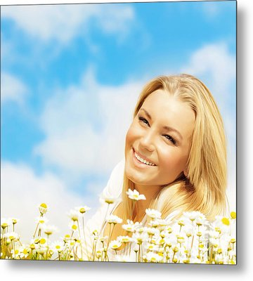 Beautiful Woman Enjoying Daisy Field And Blue Sky Metal Print
