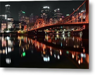 Black Night In Pittsburgh Metal Print by Frozen in Time Fine Art Photography