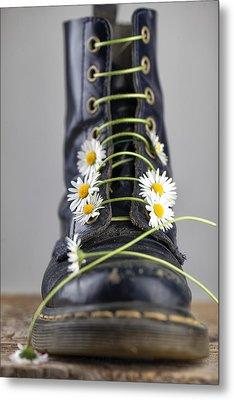Boots With Daisy Flowers Metal Print