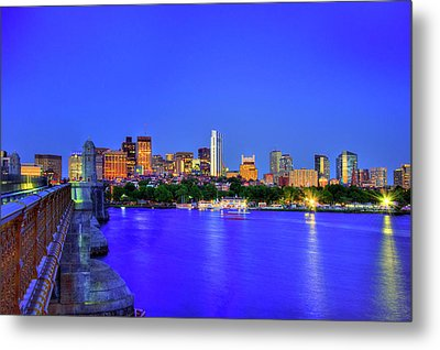 Boston Skyline From The Charles River Metal Print