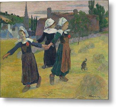 Breton Girls Dancing Metal Print by Paul Gauguin