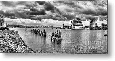 Cardiff Bay Panorama Mono Metal Print by Steve Purnell